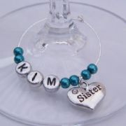 Sister Personalised Wine Glass Charm